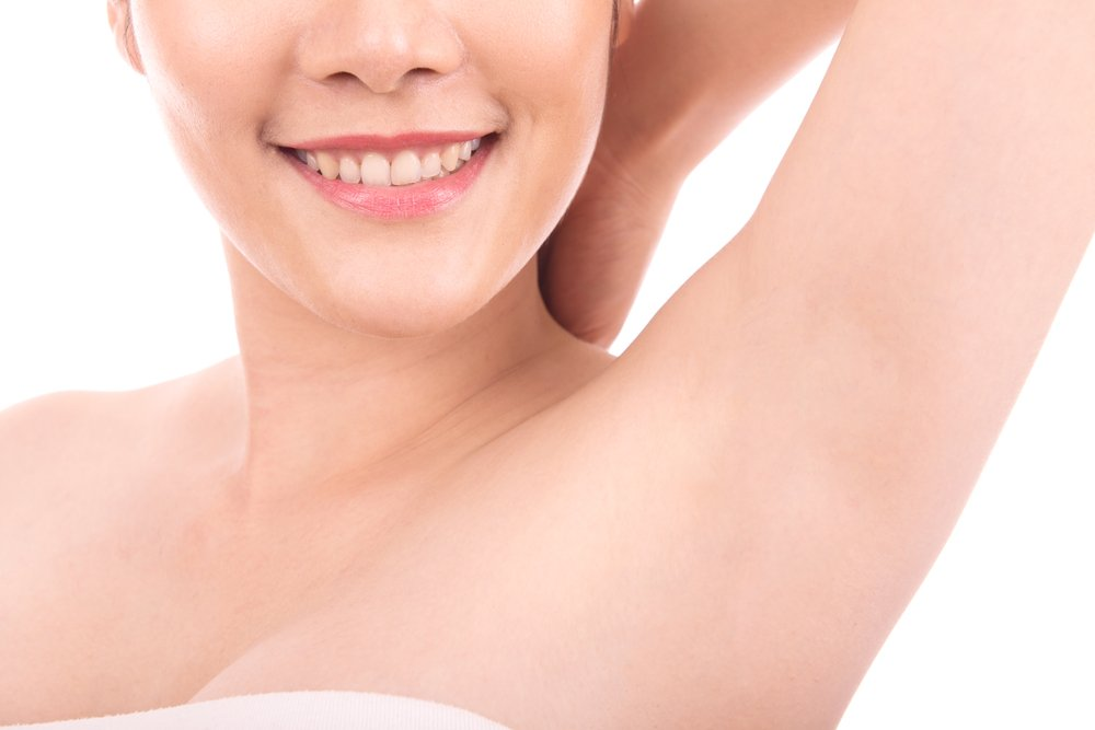 a woman's armpit after receiving laser hair treatment